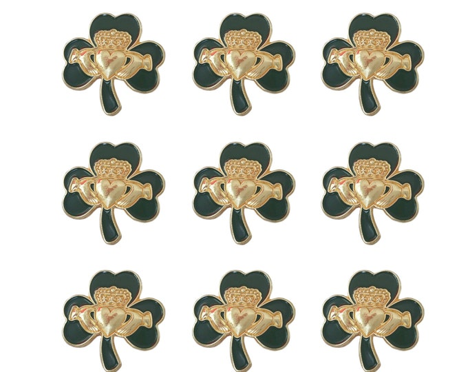 Pack 9 x Irish Gold Claddagh Green Shamrock Lapel Pin Badges St Patrick's Day 2020