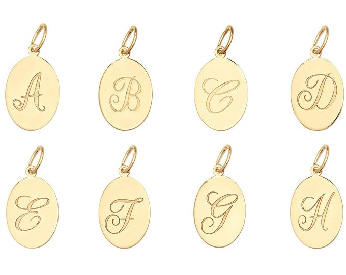 9ct Yellow Gold Small Oval Engraved Initial Letter 14x9mm Disc Tag Pendants - Real 9K Gold