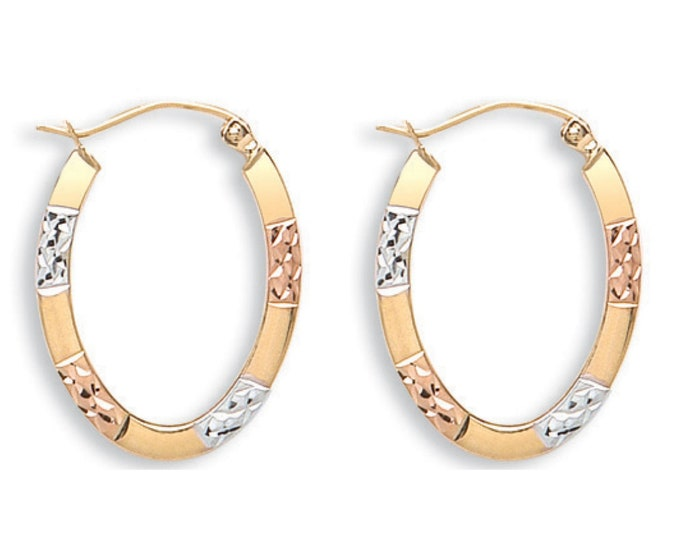 Small 9ct Tri Colour Gold 15x12mm Diamond Cut Flat Oval Creole Hoop Earrings
