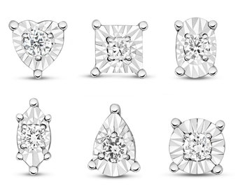Pair of 9ct White Gold 0.10ct GSi Diamond Illusion 6mm Stud Earrings - Real 9K Gold