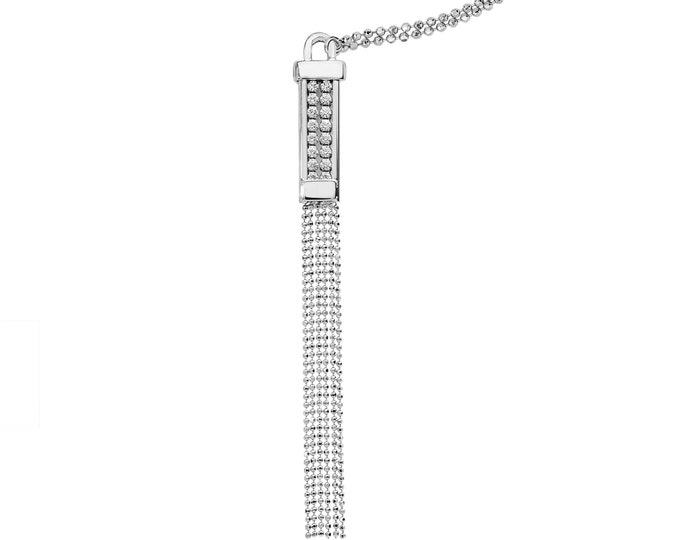 """925 Sterling Silver 18"""" Necklace With 9cm Long Cz & Beaded Tassel Pendant"""
