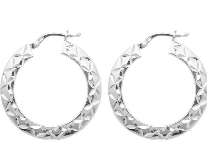 Pair of 925 Sterling Silver Diamond Cut Design Hoop Earrings  - Choice of sizes