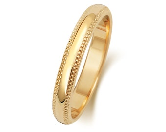 9ct Yellow Gold D-Shape Millgrain Edge Wedding Ring Hallmarked Widths 3mm-6mm Sizes J-Z