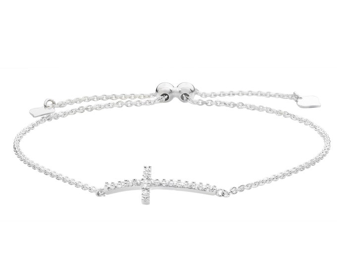 "925 Sterling Silver Cz Sideways Cross 7"" Slider Toggle Bracelet Rhodium Plated"
