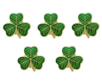 Pack 5 x Gold Plated Lucky Irish Shamrock Lapel Pin Badges St Patrick's Day