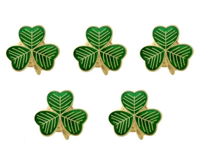 Pack 5 x Gold Plated Lucky Irish Shamrock Lapel Pin Badges St Patrick's Day 2020