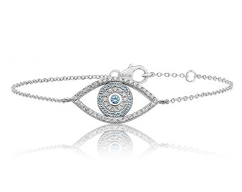 "Pave Cz Large Evil Eye 7"" Bracelet Rhodium Plated Sterling Silver"