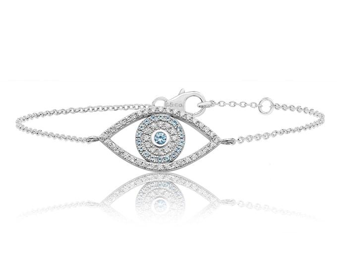 "Pave Cz Large Evil Eye 7"" Bracelet Rhodium Plated Sterling Silver"