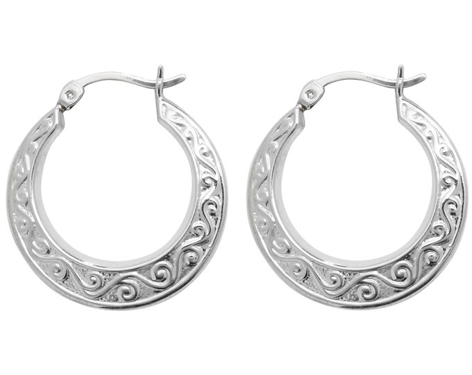 925 Sterling Silver Embossed Scroll Design Hollow Creole 20mm Hoop Earrings