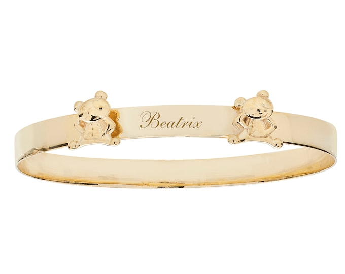 9ct Yellow Gold Teddy Bears 4mm Baby ID Expandable Bangle Hallmarked - Personalised Name