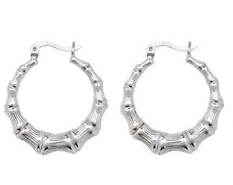 925 Sterling Silver 20mm Diameter Bamboo Design Creole Hoop Earrings