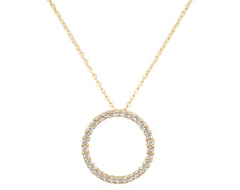 """9ct Yellow Gold 15mm Cz Circle of Life Pendant on 16""""-18"""" Necklace Hallmarked"""