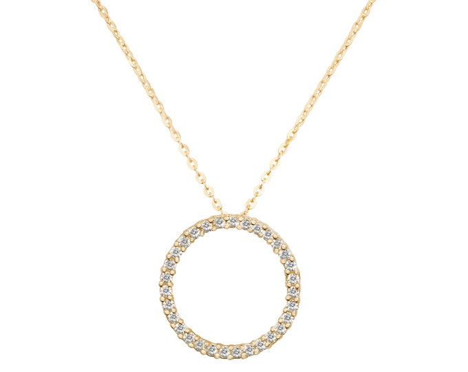 "9ct Yellow Gold 15mm Cz Circle of Life Pendant on 16""-18"" Necklace Hallmarked"