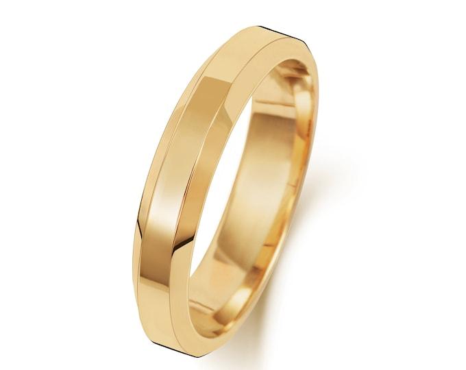 9ct Yellow Gold Bevelled Edge Soft Court Wedding Ring Hallmarked Widths 3mm-6mm Sizes J-Z
