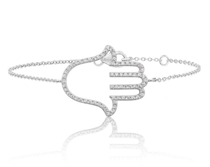 "Sterling Silver Pave Cz Large Hamsa Hand 7"" Bracelet Rhodium Plated"