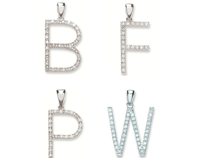 9ct White Gold Pave Diamond Initial Pendant Letters A-W Hallmarked