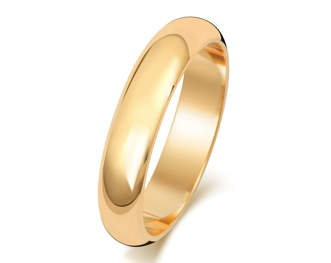 9ct Yellow Gold Plain D Shape Wedding Ring Hallmarked Widths 2mm-8mm Sizes J-Z