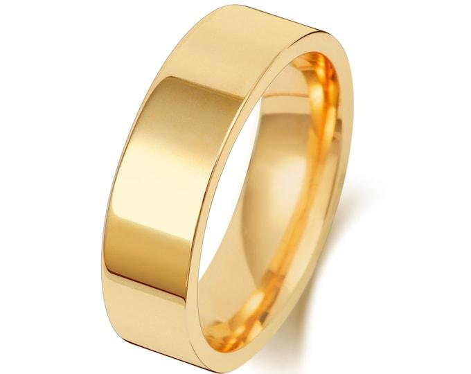 9ct Yellow Gold Plain Flat Court Wedding Ring Hallmarked Widths 2mm-8mm Sizes J-Z