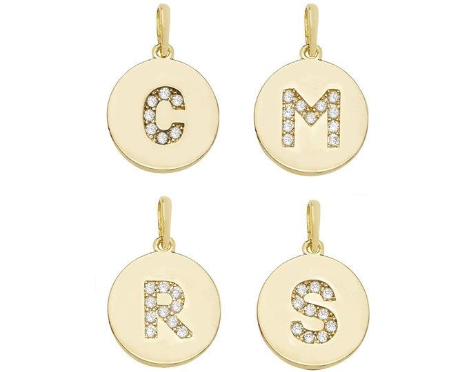Initial Disc Pendants 9ct Yellow Gold Cz Pave 1.3cm Letters A-Z