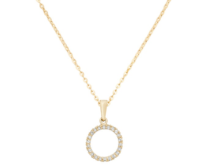 "9ct Yellow Gold 8mm Cz Circle of Life Pendant on 16""-18"" Necklace Hallmarked- Real 9K Gold"