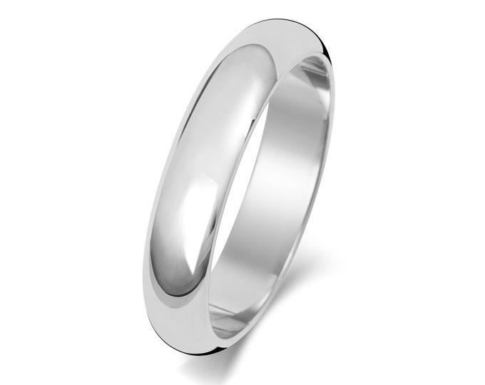 9ct White Gold Plain D Shape Wedding Ring Hallmarked Widths 2mm-8mm Sizes J-Z