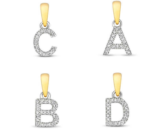 Small 9K Yellow Gold 6mm 0.02ct Diamond Initial Pendants Letters A-Z - Solid 9K Gold