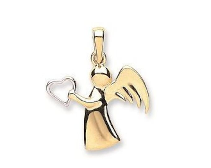 Small 9ct 2 Colour Gold 1.5cm Guardian Angel Wings & Heart Cupid Charm Pendant