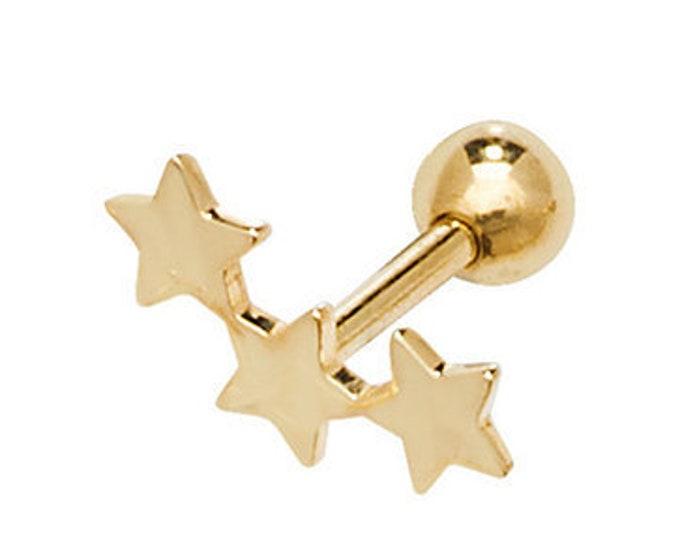 9ct Yellow Gold Three Stars Cartilage 6mm Bar Screw Back Stud Earring
