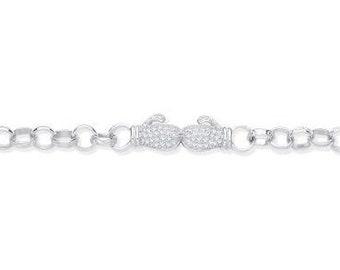 "Pave Cz Boxing Glove Baby 6"" Belcher Chain Bracelet 925 Sterling Silver"