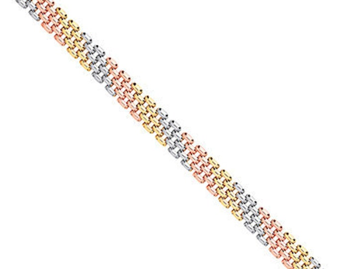 "Ladies 9ct 3 Colour Rose Yellow White Gold 7.5"" Panther Link Bracelet Hallmarked"