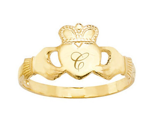 9ct Yellow Gold Maidens Irish Claddagh Ring Personalised Engraved Initial