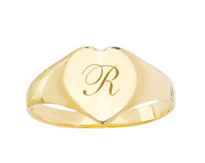 9ct Yellow Gold Maidens Heart Signet Ring Personalised Engraved Initial