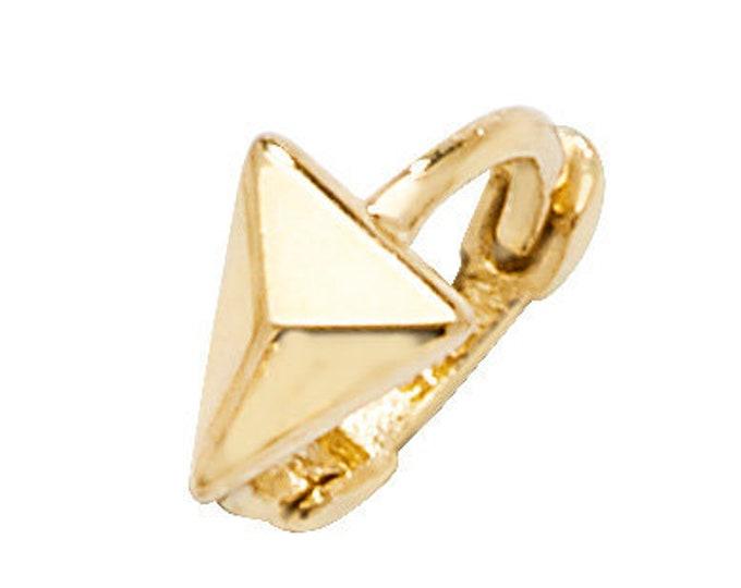 9ct Yellow Gold 8mm Diameter Triangle Arrow Helix Cartilage Single Hoop Earring