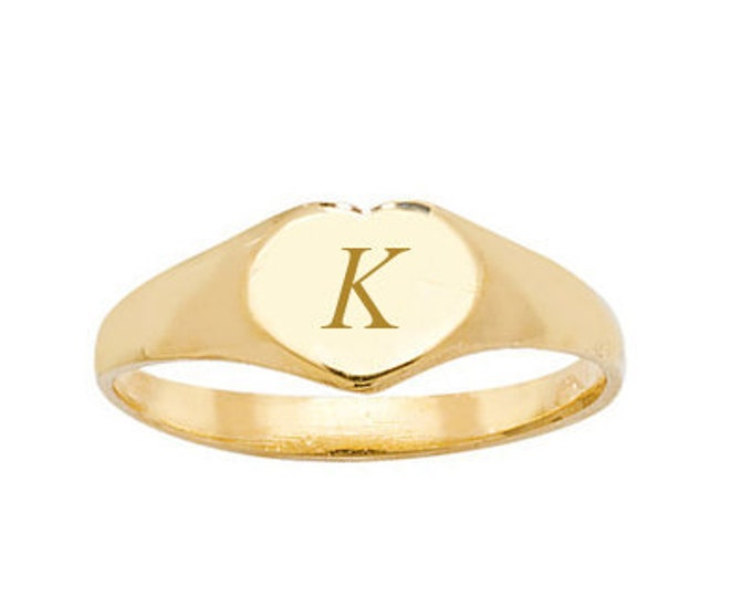 9ct Yellow Gold Babies Heart Signet Ring Personalised Engraved Initial