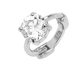 9ct White Gold 3mm Solitaire Cz Cartilage 7mm Diameter Single Hoop Earring