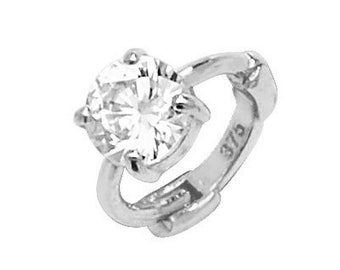 9ct White Gold Solitaire Cz Cartilage 6mm Hoop Earring