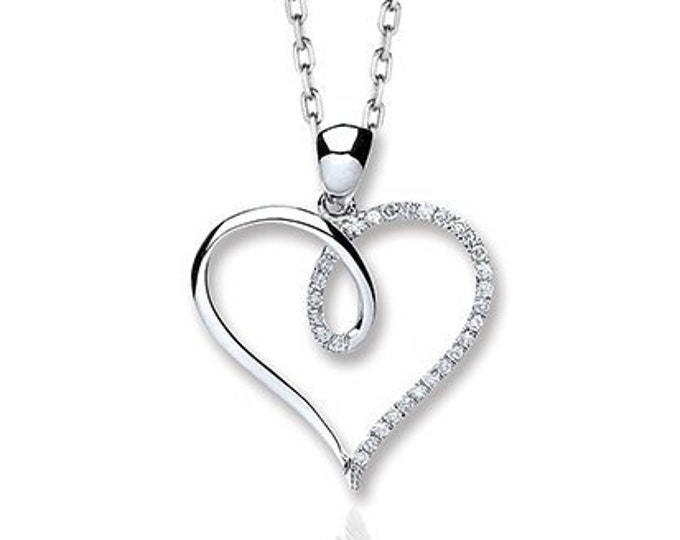 9ct White Gold 0.10ct Pave Diamond Twisted Knot Open Heart Pendant - Real 9K Gold