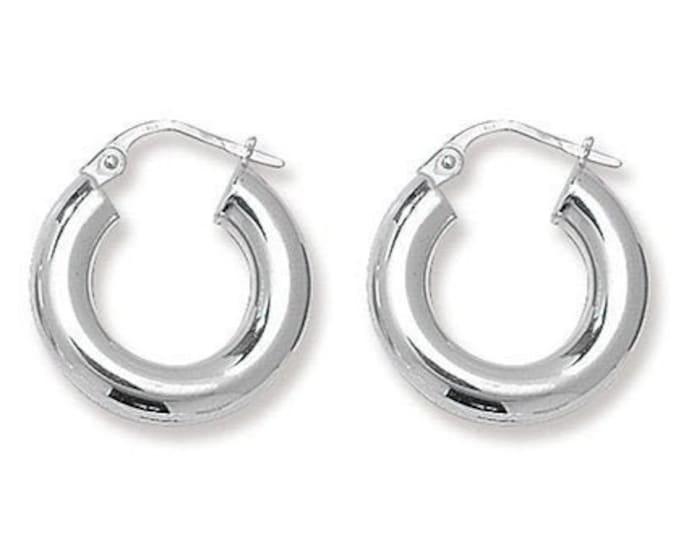 925 Sterling Silver Chunky 10mm Diameter 4mm Hollow Tube Hoop Earrings Boxed