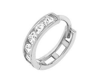 9ct White Gold 8mm Diameter Channel Set Cz Hinged Helix Cartilage Single Hoop Earring