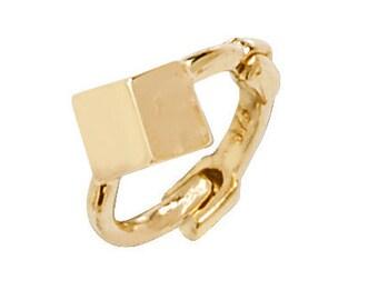 Cube Design 9ct Yellow Gold 6mm Diameter Hinged Cartilage Hoop Earring