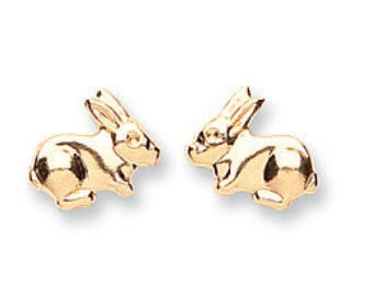 9ct Yellow Gold Small Bunny Rabbit Stud Earrings 7x5mm- Real 9K Gold