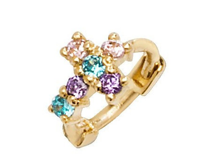 9ct Yellow Gold Multi Colour Cz Cross Cartilage 6mm Hoop Earring
