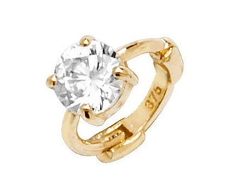 9ct Yellow Gold Solitaire Cz Cartilage 6mm Single Hoop Earring - Real 9K Gold