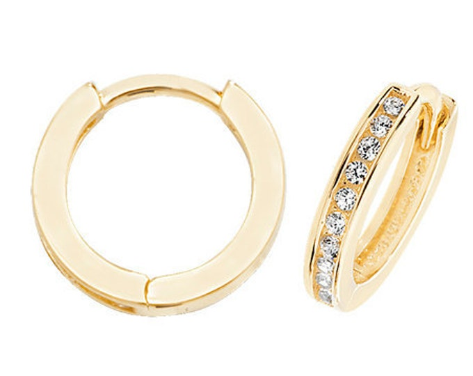 9ct Yellow Gold 10mm Channel Set Cz Hinged Hoop Earrings