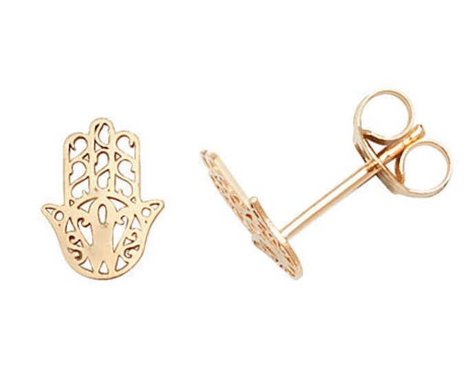 9ct Yellow Gold 6mm Filigree Hamsa Hand Stud Earrings- Real 9K Gold