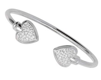 925 Sterling Silver Double Heart Cz Baby Torque Bangle
