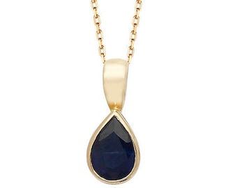 Pear Cut Blue Sapphire Gemstone Teardrop Pendant 9ct Yellow Gold