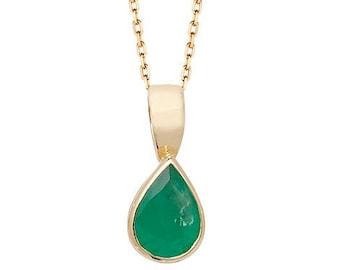 Pear Cut Green Emerald Gemstone Teardrop Pendant 9ct Yellow Gold