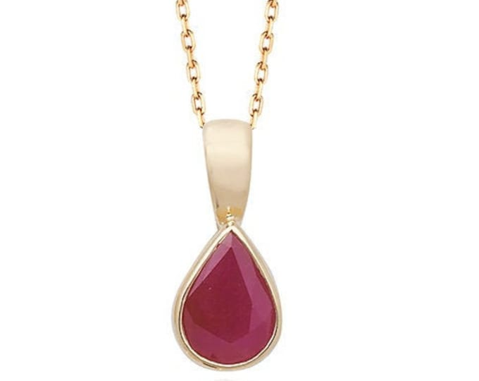 Pear Cut Red Ruby Gemstone Teardrop Pendant 9ct Yellow Gold- Real 9K Gold