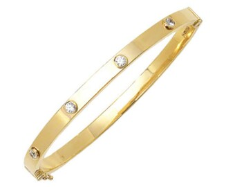 Ladies 9ct Yellow Gold Brilliant Cut Cz Button Stud 5mm Bangle Hallmarked - Real 9K Gold